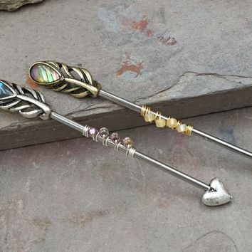 Abalone Peacock Feather Industrial Barbell