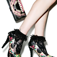 Iron Fist Dearly Departed Peep Toe Platform Heels Black