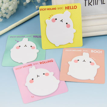 1pc Kawaii Unique Scrapbooking Molang Rabbit Memo Pad Sticker Bookmark Tab Flags Memo Book Marker Sticky Notes Office Stationery