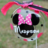 personalized 4 inch mickey or minnie mouse christmas ornament