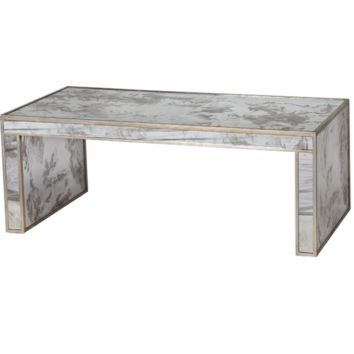 Worlds Away Parsons Mirrored Silver Coffee Table