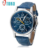 Novel design New Luxury Fashion Crocodile Faux Leather Mens Analog Watch Watches Blue Dropshipping