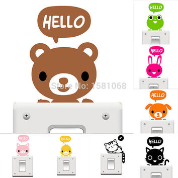 BornIsKing Cat Creative Switch Stickers Bedroom Parlor Wall Stickers Home Decoration