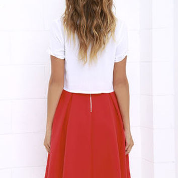 Pleats, Oh Please Red Midi Skirt