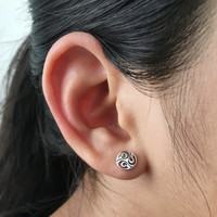 925 Sterling Silver Triskelion Celtic Stud Earrings, celtic jewelry, trinity stud earrings, celtic trinity earrings, cartilage earrings