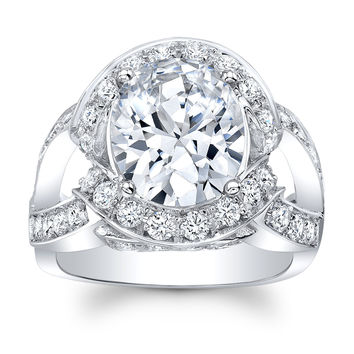 Women's 14k engagement ring with pave halo Round Diamonds and 5 ct Oval Brilliant Center White Sapphire