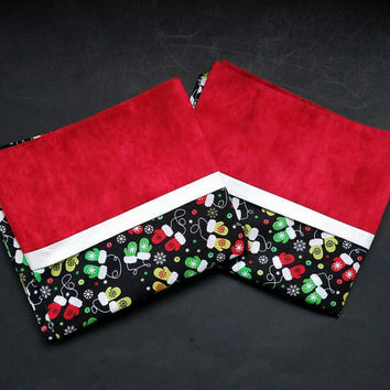Christmas and Holiday Snowflake and Mitten  Pillow Cases - Black, Red, Green, and White Snowflake Pillowcases