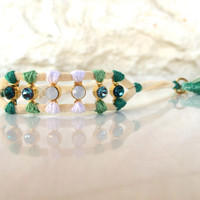 Swarovski green turquoise bracelet - women bracelet - one of a kind