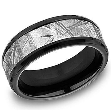 Benchmark Forge Meteorite 8mm Comfort Fit Black & Silver Wedding Band