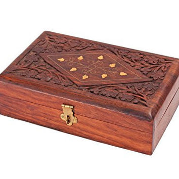 Vintage Hand Carved Rosewood Jewelry Box Organizer with Floral Patterns
