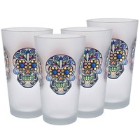 Culver Sugar Skulls Decorated Frosted Pint / Pub Glasses, 16-Ounce, Set of 4