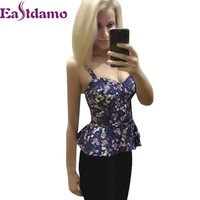 Sexy Bustier Crop Top 2017 Summer Vintage Floral Print Spaghetti Strap Padded Zipper Cropped Top Corset Tank Vest Top Beachwear