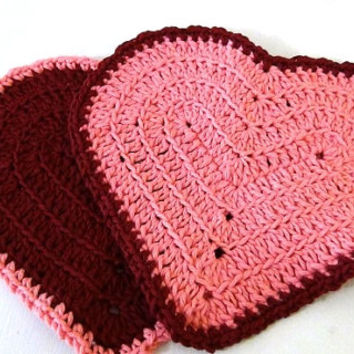 Valentine Heart Washcloth - Set of 2 - Pink and Maroon