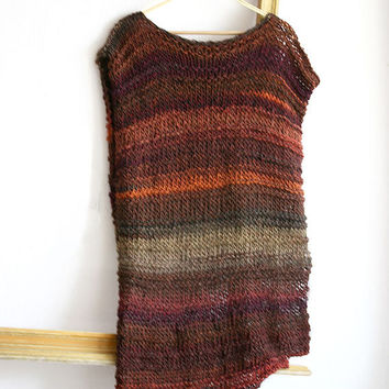 Knit crop top with long back, Poncho sweater, Loose knit seater, Bohemian High low crop top, Sleeveless knitted vest, Knitted woman vest