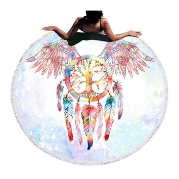 Wings Dreamcatcher Boho Beach Blanket