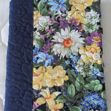 Blue Floral Quilted Journal Cover with Notebook and Pen