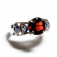 "Garnet, garnet ring, garnet accent ring, cocktail ring, red, blue, red ring, s 6 ""Spice of Life"""