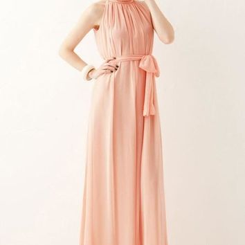 Pink Ruffle Sashes Tie Back Off Shoulder Halter Neck Draped Flowy Bridesmaid Maxi Dress