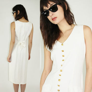 vtg 80s white dress gold button down day dress sundress casual dress solid white dress minimalist high slit small sm s