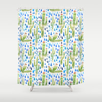 Watercolor Cactus with Raindrops Shower Curtain by Natalievmason | Society6