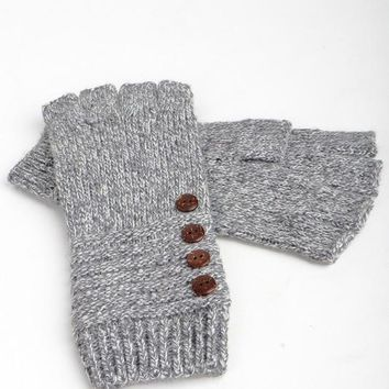 Lesa Fingerless Knit Gloves in Grey