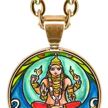 "Lord Indra Ruler of the Heavens 5/8"" Mini Stainless Steel Pendant with Chain"