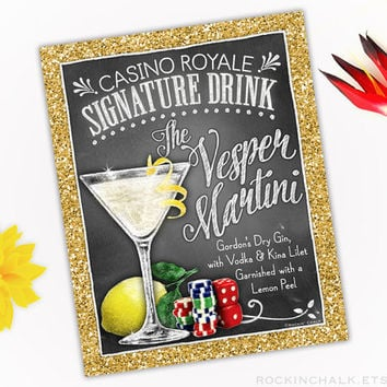 Fun Theme Party Idea - Signature Drink Cocktail Sign | Classic Film Fest or Casino Night |  Vesper Martini Cocktail Sign - Royale
