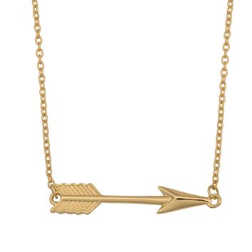 """10K Yellow Gold Arrow Pendant On 18"""" Necklace"""