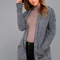 Harvest Home Heather Navy Blue Hooded Cardigan Sweater