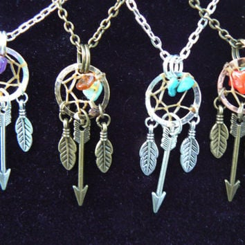 arrow dreamcatcher necklace PICK ONE arrows feathers gemstones in native american tribal boho belly dancer tribal fusion and hipster style