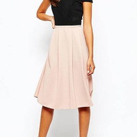 Pink Pleated Midi Skirt