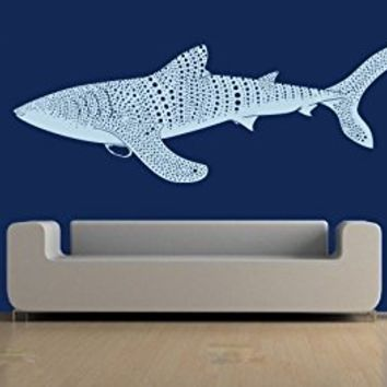 Wall Decal Vinyl Sticker Decals Art Decor Design Whale Shark Fish Pattern Sea Anumal Beautiful Family Dorm Kid Nursery Modern Bedroom (r651)