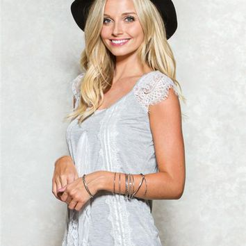 Taylor & Sage Lace Sleeve Top