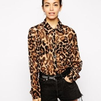 Glamorous Oversize Shirt in Animal Print
