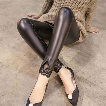 DCCKH6B Leggins Leggings 2017 Solid Hot New Open Mouth Lace Ruffles Leggigns Sexy Faux Pu Leggings Imitation Leather Slim Women