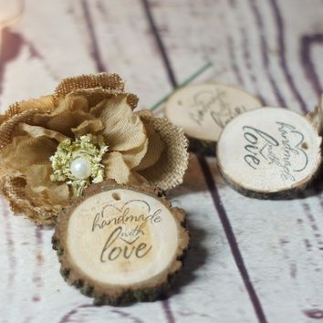 Handmade With Love Wood Product Tags