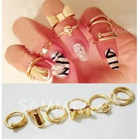 7PCS Of Chic Style Heart & Bowknot & Skull & Round & Nail Shape Women's Knuckle Rings (AS THE PICTURE,ONE SIZE) | Sammydress.com Mobile