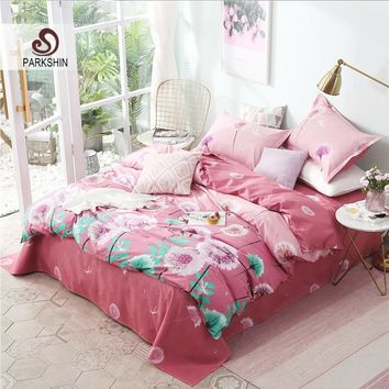 ParkShin Flowers Bedding Sets Pink Nordic Comforter Bedspread Duvet Cover Double Bed Sheets Linens Adult Queen King Bedclothes