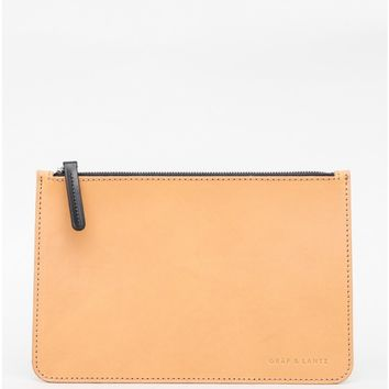 large flat pouch in tan leather