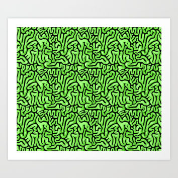 Green Brains Art Print by BigTexFunkadelic