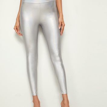 Wide Band Waist Metallic Leggings