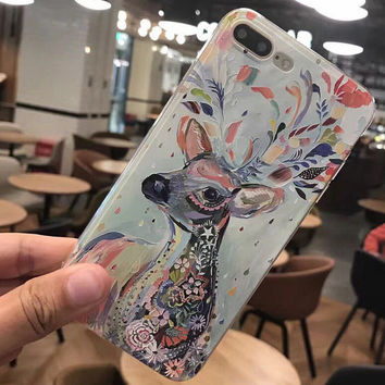 Hand-painted Deer Case for iPhone 7 7Plus & iPhone 6 6 Plus Cover -0323