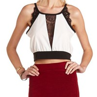 Eyelash Lace Trim Crop Top: Charlotte Russe