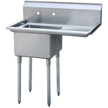 "Stainless Steel 1 Compartment Sink 43"" x 26"" with 20"" Right Drainboard"