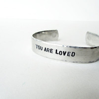 Bracelet with words - You are loved - silver bracelets mother daughter friend gift