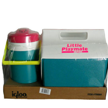 Vintage Neon Igloo Cooler Set - Little Playmate and Cooler/ Ice Chest - Neon Pink, Yellow,  Magenta, & Teal - New Old Stock