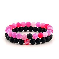Natural Onyx Stone Beads Bracelet Multi-Color