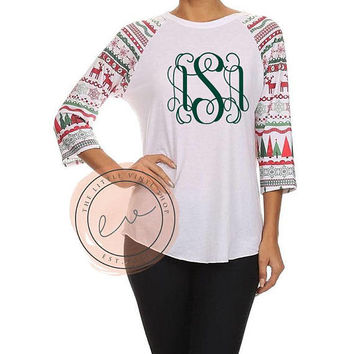 The Ugly Sweater Raglan- Monogrammed - Multiple Sizes - Custom - The Little Vinyl Shop
