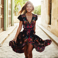 2017 Summer Bohemian Dress Ethnic Sexy Print Retro Vintage Tassel Beach Dresses Boho Hippie Slipt Maxi Dress Long Robe Vestidos