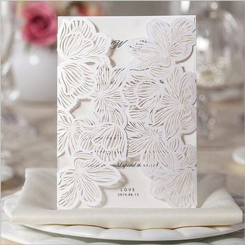 1pcs Sample Hollow  White Rose Flower Laser Cut Wedding Invitations